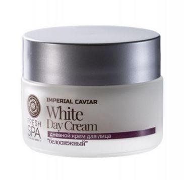 Kem ngày White Day Cream thuộc bộ sưu tập cao cấp FRESH SPA Imperial Caviar của Natura Siberica tác dụng dưỡng trắng da nhẹ nhàng, trị sạm màu da, nâng cơ mặt, giảm nếp nhăn và ngăn ngừa lão hóa