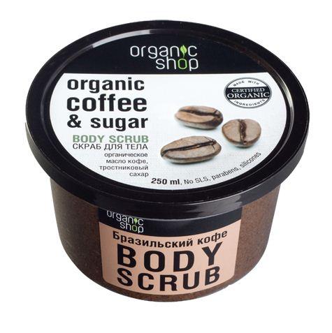 Tay da chet toan than Organic Shop chiet xuat cafe Brasil va duong mia