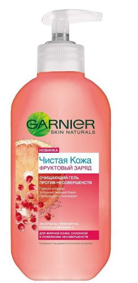 Gel rua mat Garnier Fruit tinh chat Vitamin C chiet xuat hoa qua xoa khiem khuyet mụn ,vet tham, loai bo bong dau